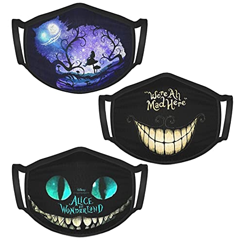 3PCS Alice in Wonderland Kid's Face Mask Reusable Washable Masks Anti-Dust Face Bandanas Balaclava for Men Women Boys Girls