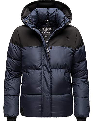 Navahoo Damen Winterjacke Steppjacke Oversize Puffy Jacke mit Abnehmbarer Kapuze Sarafina Navy Gr. XL