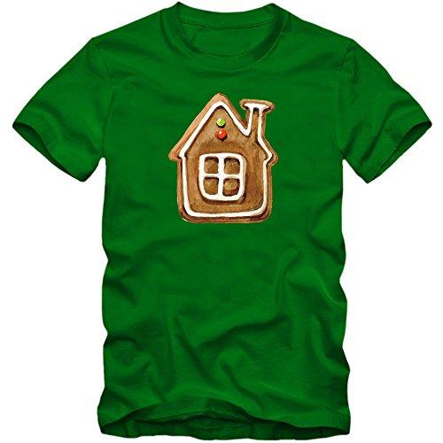 Lebkuchenhaus T-Shirt | Süßes | Weihnachtsmann | Weihnachten |Nikolaus | Frohes Fest | Herrenshirt, Farbe:Hellgrün (Kelly Green L190);Größe:L