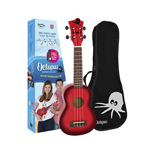 Octopus - Ukelele soprano en color rojo