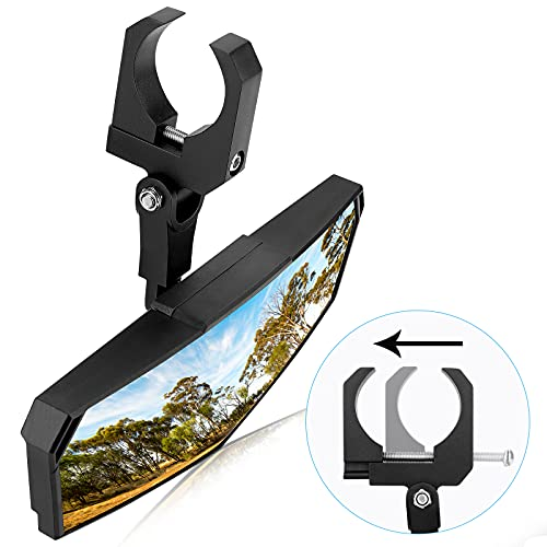 """UTV Center Mirror, kemimoto Rear View Mirror Clear View with 1.65""""-2"""" Adjustable Low Profile Clamp Compatible with Pioneer / Talon / RZR / Can Am X3 / CFMOTO / Kawasaki / Arctic Cat Wildcat"""
