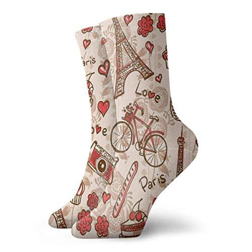 Paris Eiffelturm rotes Thema Liebe Beere Kuchen Kamera Kamera Frauen Männer Casual Crew Socken Gym Socken Crazy Socks Socken Kleid Socken