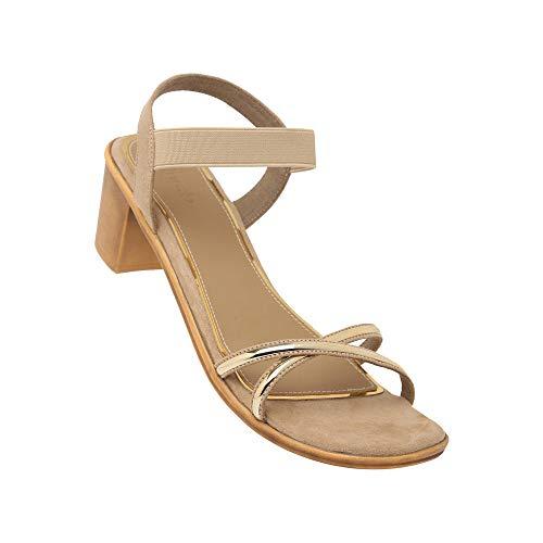 Inc.5 Women's Sandal Beige Wheeled Heel Shoe (14310)