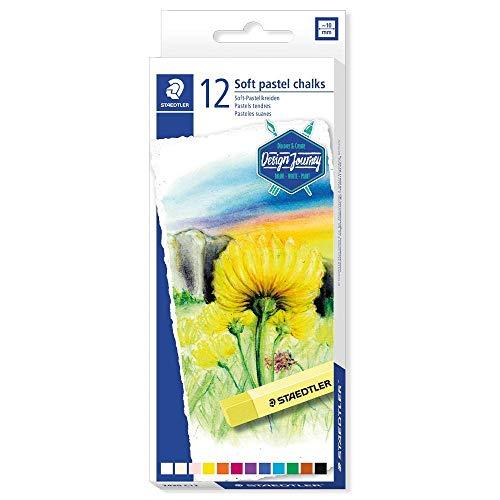 Staedtler Pastels tendres de qualité professionnelle, Couleurs lumineuses et facilement miscibles, Étui carton avec 12 couleurs assorties, 2430 C12