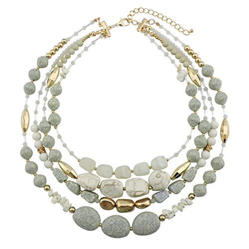 Bocar NK-10533 Collana multistrato con perline, a 4 fili, 43,2 cm, regalo da donna  e materiale non metallico, colore: crema, cod. NK-10533