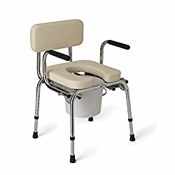 Medline Heavy Duty Padded Drop-Arm Commode for disabled