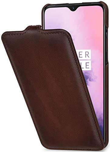 StilGut Hülle geeignet für OnePlus 7 Lederhülle vertikales Flip-Hülle, braun antik
