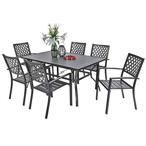 """PHI VILLA Outdoor Patio Dining Set of 7 with Metal 60""""x38"""" Rectangular Dining Table and Bistro Chairs - Black"""