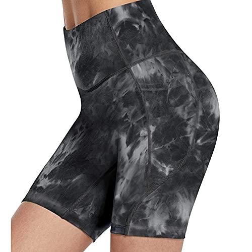 Pantalones Cortos Deportivos Tie Dye para Mujer Leggins Cortos Mujer de Cintura Alta Mallas de Yoga Push Up Pantalón de Deporte Absorbentes y Transpirables Leggings para Running Training Fitness