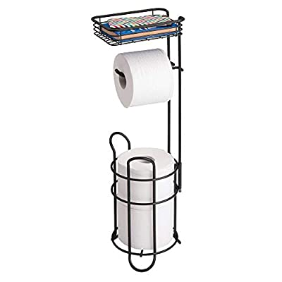 mDesign Freestanding Metal Wire Toilet Paper Roll Holder Stand and Dispenser with Storage Shelf for Cell, Mobile Phone - Bathroom Storage Organization - Holds 3 Mega Rolls - Matte Black by MetroDecor