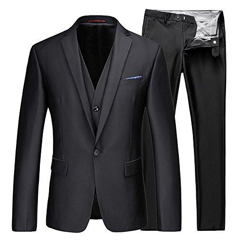 WEEN CHARM(ウインチャーム) スーツメンズ スリム セットアップ 結婚式 二次会 ブラック 無地 スーツ