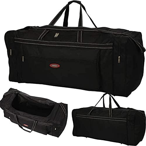 Grande Extra Large Holdall Valigia Borsa Da Viaggio Borsa Sportiva Uomini Donne Holdall Holder Bag Palestra Sport Cargo Carry Spalla Hard Board Bag, Nero , Extra Large 37' XL, Zainetto