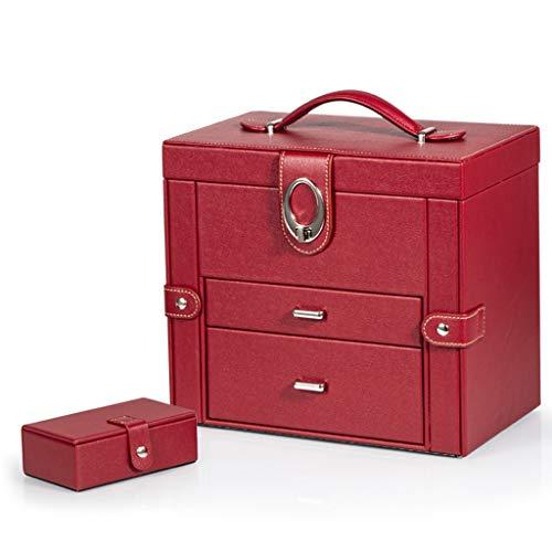 Caja Joyero Gran caja de joyería de cuero, caja de almacenaje de la joyería anillo de collar de la joyería, caja de exhibición de la joyería con espejo, caja portátil de viaje Organizador de joyas
