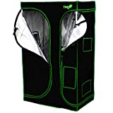 "Yield Lab 36"" x 24"" x 60"" 2-in-1 Full Cycle Reflective Plant Grow Tent with Viewing Windows and Flood Trays – Hydroponic Horticulture Growing Tent for Herbs, Spices, Fruits and Vegetables"