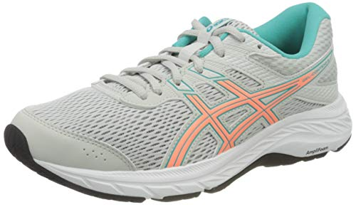 ASICS Womens Gel-Contend 6 Running Shoe, Glacier Grey/Sun Coral, 38 EU