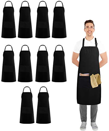Utopia Kitchen 10 Pack Adjustable Bib Apron with 2 Pockets  Adjustable Neck Strap  32Inch by 28Inch with Extra Long Ties Black
