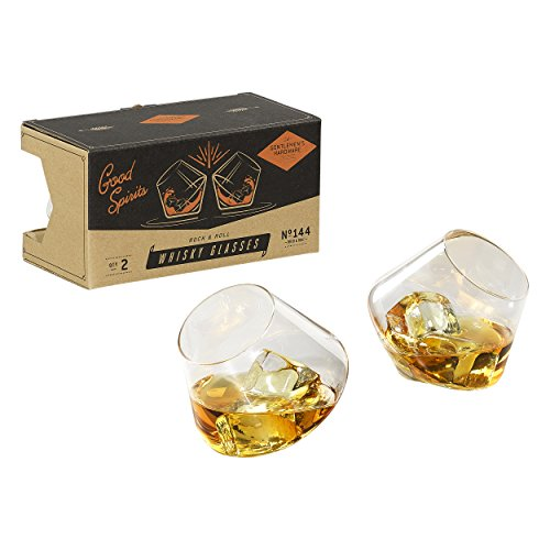 Gentlemen's Hardware Rocking Whisky Glasses, Silver, Set of 2