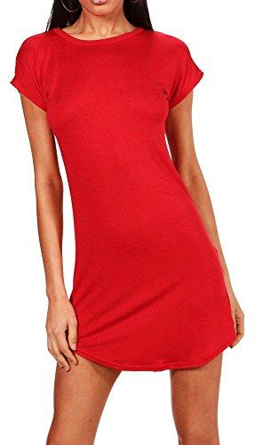 Re Tech UK - Damen T-Shirt-Kleid - figurbetont & hüftlang - geschwungener Saum - Stretchmaterial - Rot - 34-36