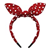Huachi Bow Headbands for Girls Women Red Polka Dot Headwrap Cute Turban Hair Hoop Knotted with Bunny Ears Vintage Hair Accessories