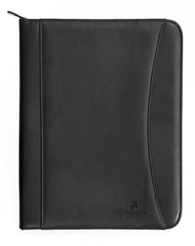 Executive Office Solutions Professional Business Padfolio Portfolio Briefcase Style Organizer Folder & Notepad Synthetic Leather - Black (EOS-PAD4)