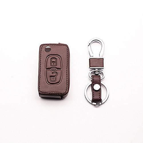 YJLOVK para la Cubierta de la Llave de Cuero del Coche para el Peugeot 107206207208306307308407408508 RCZ, Citroen C2 C3 C4 C5 Estilo de Coche de 2 Botones, Color café