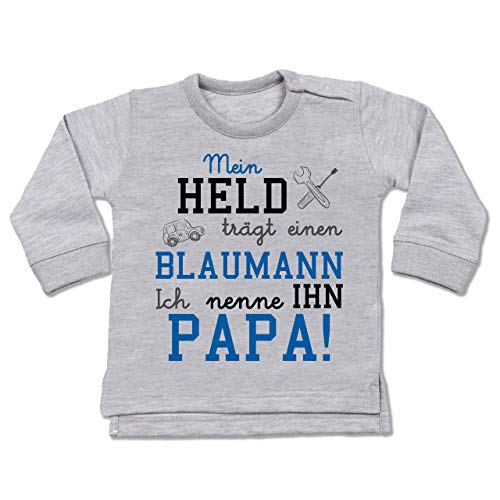 Shirtracer Sprüche Baby - Mein Held trägt einen Blaumann - 12/18 Monate - Grau meliert - blaumann pink - BZ31 - Baby Pullover