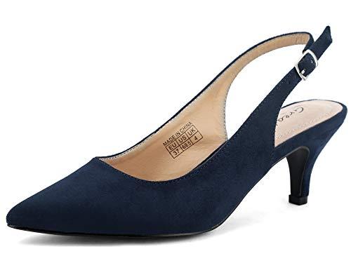 Greatonu Zapatos de Tacón Azules Suedes de Modas con Hebillas para Mujer Tamaño 38 EU