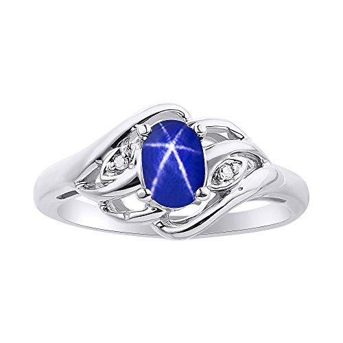 Juego de anillos de zafiro de estrella azul y diamante en oro blanco de 14 quilates con piedra natalicia