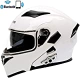 CX ECO Motorcycle Bluetooth Helmet Flip Up Full Face Motorbike helmets D.O.T Certification Antifogging Dual Lens Bluetooth+FM Adult Motorcross Helmet,Yellow,L