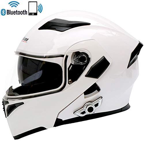 LSY Hochklappbarer Bluetooth-Motorradhelm Anti-Fog-Doppelscheiben-Rennhelm mit integriertem FM-Headset mit Zwei Lautsprechern,Brightwhite,XL(6162CM)
