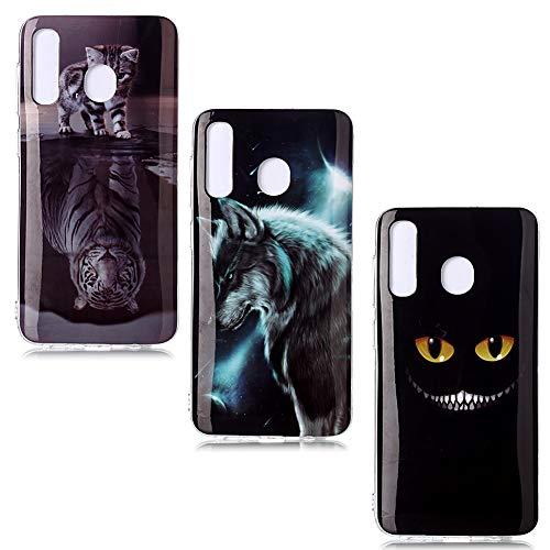 QC-EMART 3 Coques pour Samsung Galaxy A20e Motifs Imprimé, Samsung A20e Coque Silicone Transparente Souple TPU Ultra Fine Anti Choc Etui de Protection Tigre Chat Noir Bleu Loup