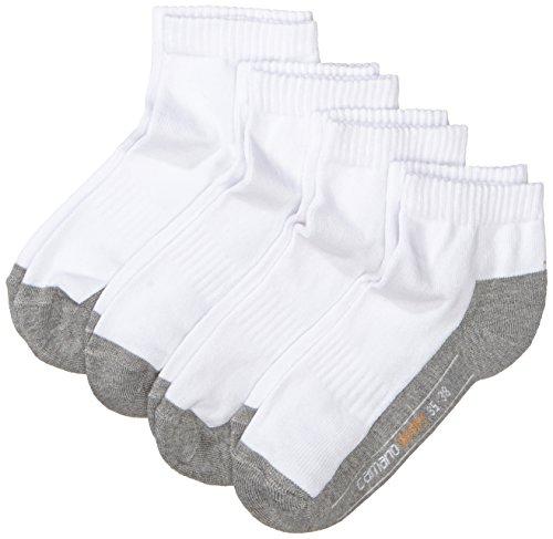 Camano Herren 5932 Sport Quarter 4 Paar Sportsocken, Weiß (white 01), (Herstellergröße: 39/42) (4er Pack)