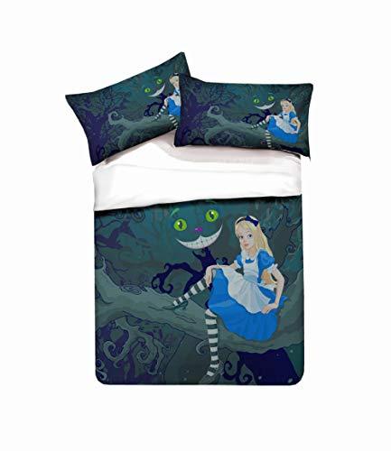 AHKGGM Juego de Funda de Edredón 220x240cm Chica de Dibujos Animados Azul de Microfibra Hipoalergénica Impresa en 3D Ropa de Cama 3 Piezas con Cremallera 1 Funda de Nórdica y 2 Fundas de Almohada