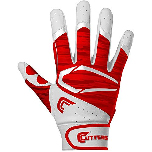 Cutters Gloves Adult Power Control 2.0 Batting Gloves, White/Red, Medium