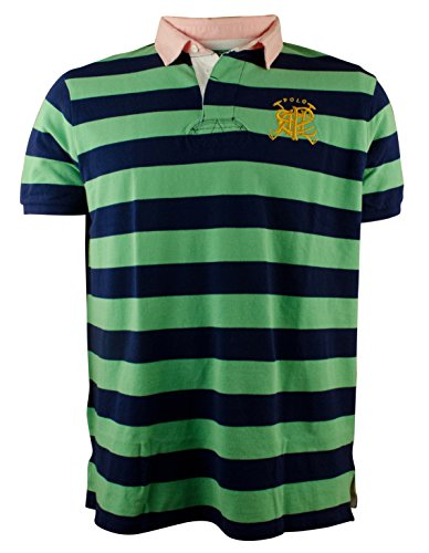 Men's Custom-Fit Cross Mallets Striped Rugby Polo Shirt-CG-L