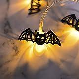 AKDSteel Halloween Dekoration LED Eisen Kunst 3M 10 LED Gartenhaus Fee hängende Lichterketten Halloween Dekor Eisen Kürbis Hohle Fledermaus 2 Meter 10 Lichter