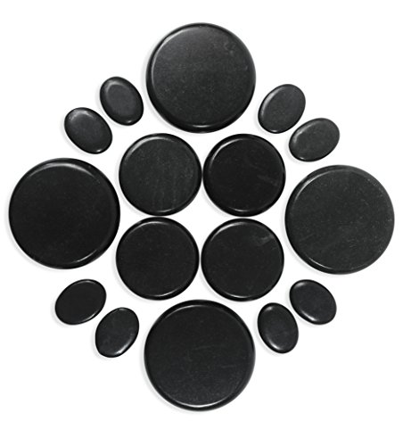 ONYX 6 – Hot Massage Stone Set 16 Piece Kit with Pouch Natural Lava Rock Basalt Stone for Professional or At-Home Use Promotes Circulation Relaxation Healing