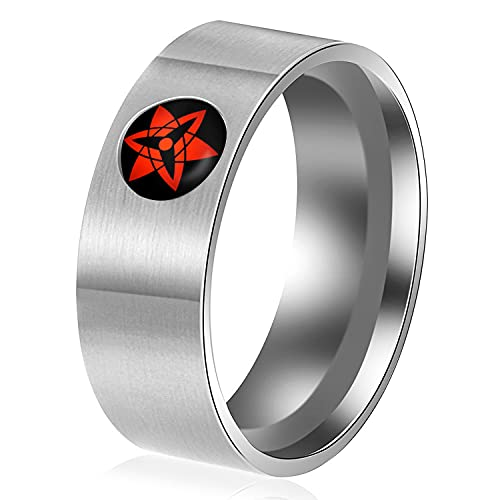 I3C Anime Cosplay Anillo, anillo de Shippuden, de acero inoxidable, regalo para nios y adultos, Acero inoxidable,