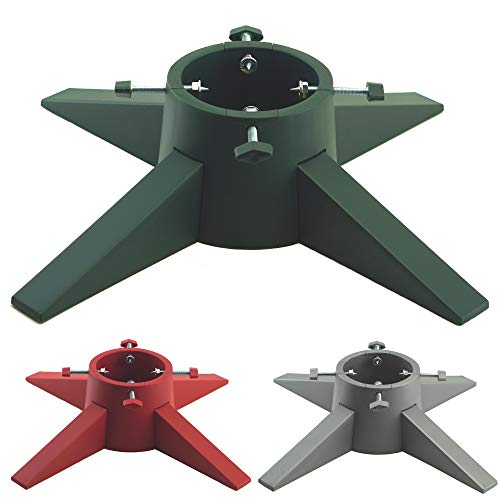 Modern Christmas Tree Stand / Base Holder With Reservoir - Latest Extra Sturdy Design & Assembled In Minutes (Green)