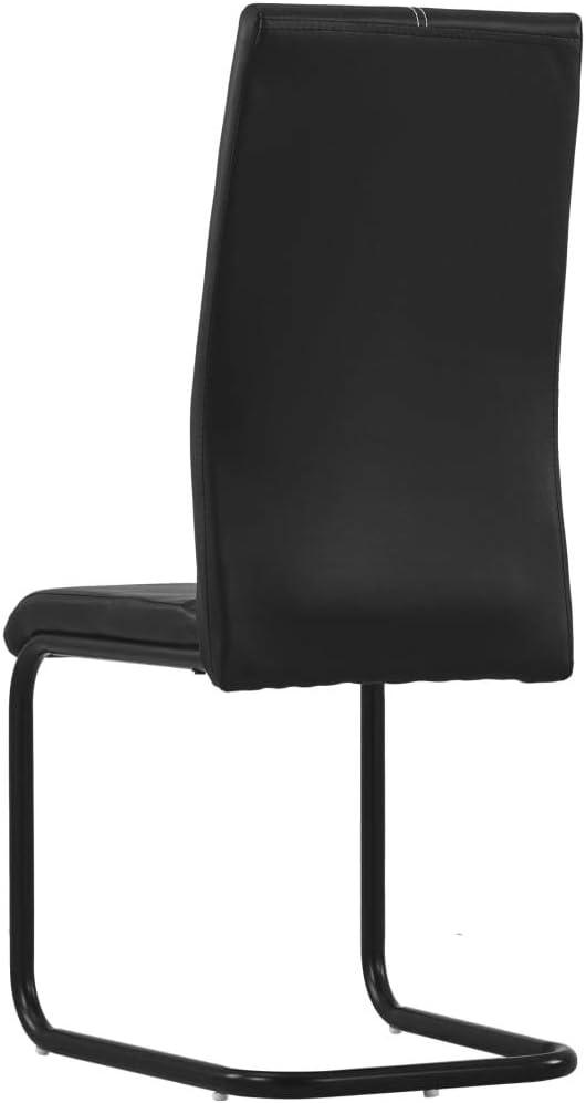 vidaXL 6X Chaises de Salle à Manger Cantilever Chaises de Repas Chaises à Dîner Chaises à Manger Maison Intérieur Vert Similicuir Noir