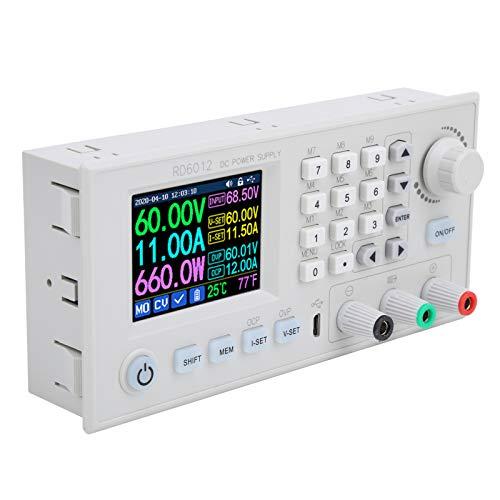 EBTOOLS1 Fuente de alimentación de CC, Fuente de alimentación de CC Ajustable, Adaptador de Controlador RD6012, con Pantalla LCD de 2,4 Pulgadas, Interruptor CNC, 12A / 720W 6-70V a 0-60V(RD6012-W)