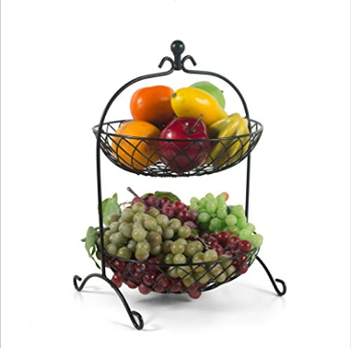 Cesta de frutas para la decoración de la mesa Concesta de frutas de moda creativa Cuencos de almacenamiento en el hogar en la sala de estar Dos capas Metal Fruit Bowls Flower Basket Fruit Bowls Regalo