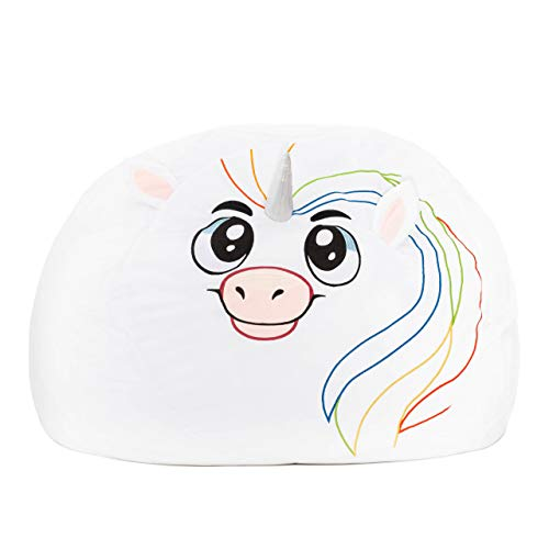 Roomganize Extra Large Animal Bean Bag Chair Cover and Soft Toy and Linen Storage Organizer for Room Decor and the Everyday Tidiness Moms Love (Unicorn)