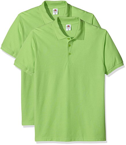 Fruit of the Loom Premium Polo T-Shirt, Verde (Lime), S Uomo
