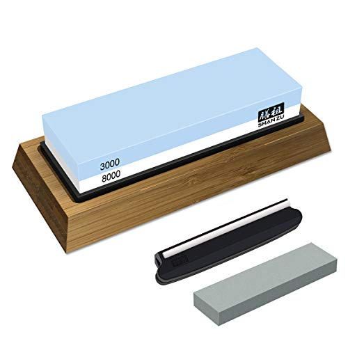 Whetstone Knife Sharpening Stone Set, Premium 2-Sided Whetstone Sharpener 3000/8000 Grit Whetstone Kit with Flattening Stone,Non-Slip Bamboo Base and Angle Guide for Chef Knife, Kitchen Knife