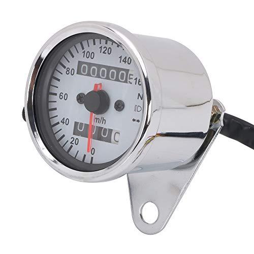 YSMOTO - Tachimetro universale per moto, quadrante bianco, contachilometri, indicatore di direzione, indicatore di direzione del faro con retroilluminazione a LED, display digitale (argento)
