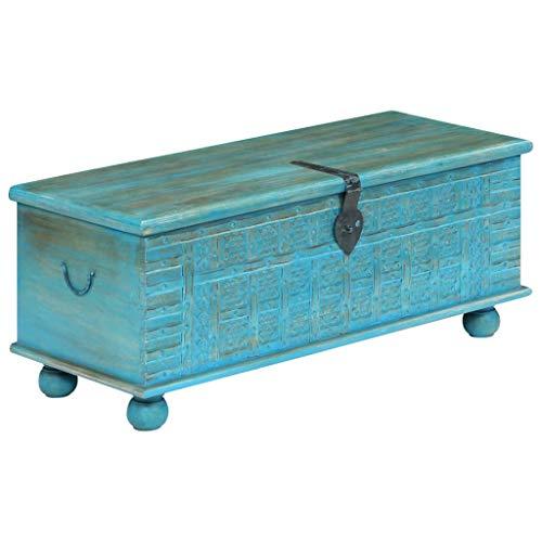 tidyard Baúl de Almacenamiento,Cofre Baúl,Cofre del Tesoro,Caja de Madera,Caja Pirata,Madera Maciza de Mango,Azul 100x40x41cm