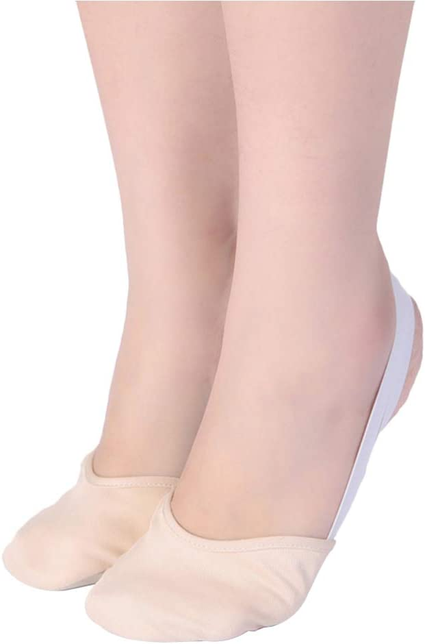 Milisten Ballet Practice Shoes Ballet Slipper Yoga Shoes Folklorico Shoes Pirouette Dance Half Sole Lyrical Turning Shoes for Ballet Jazz Size S (White)
