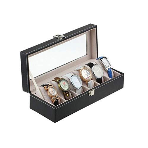 Cajas De Reloj Caja De Almacenamiento De Reloj De Cuero De PU Caja De ExhibicióN De JoyeríA De Madera De 6 bits para Caja De PresentacióN De Regalo De CumpleañOs De Aniversario (Color: Negro, TamañO: