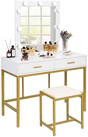 VINGLI White Vanity Set with Lighted Mirror Makeup Table Set with 9 LED Lights Dressing Table product image